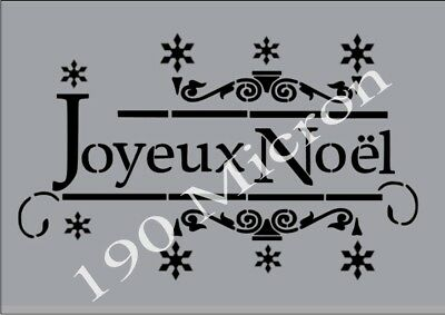 A5 stencil JOYEUX NOEL french, christmas, signs,Shabby Chic,fabric,  paint