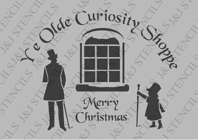 A4 stencil CURIOSITY SHOPPE  french, christmas, signs,Shabby Chic,fabric,  paint