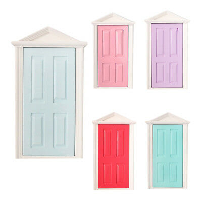 1:12 Scale Wooden Fairy Steepletop Door Dollhouse Miniature Accessory Red D T8E6