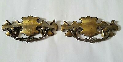 Vintage Metal Ornate Drawer Pulls With Swinging  Handles Set of 2