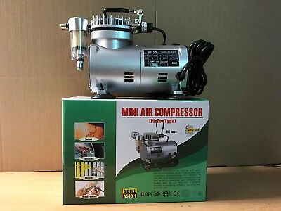 Mini Air Compressor AS18-1 Piston Type For Airbrushes painting Inflation Tattoo