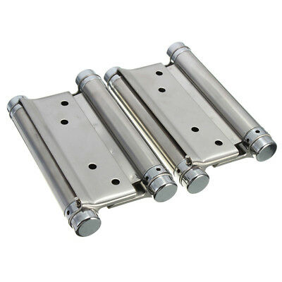 1 Pair Cafe Saloon Door Swing Self Closing Double Action Spring Hinge Silve I0I4