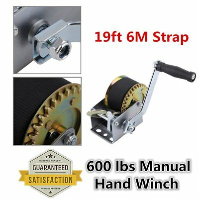 600lbs Manual Hand Winch With 6m 19ft Strap Boat Trailer Marine Puller Lift NEW