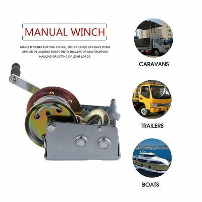 Manual Hand Winch 2500lbs Pickup Trucks Trailers + 10m Cable Hook Puller UK NEW
