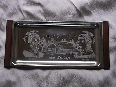 352 / Excellent Vintage New Zealand Stainless Steel Tray Maori Tray
