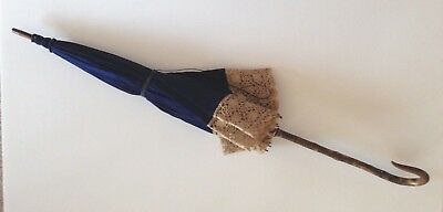 Stunning Blue Silk Victorian Parasol with Wood Handle
