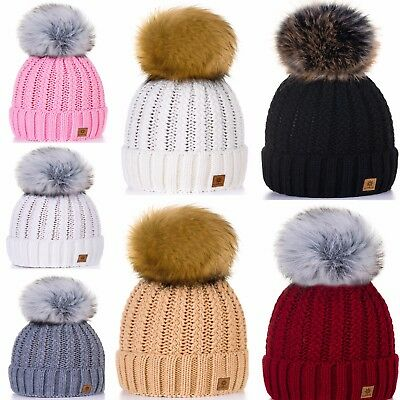 Children Girls Winter Hat Worm Kids Knitted Beanie Hats Girl Large Pom Pom LA