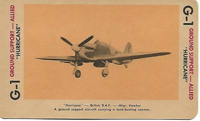 """Milton Bradley 1965 Game Picture Card  WWII """" Hurricane """" Ground Support Plane"""