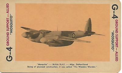 """Milton Bradley 1965 Game Picture Card  WWII """" Mosquito """" Ground Support Plane"""