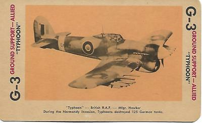 """Milton Bradley 1965 Game Picture Card  WWII """" Typhoon """" Ground Support Plane"""