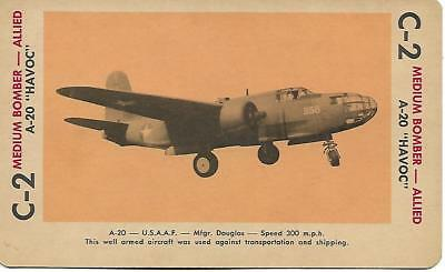 """Milton Bradley 1965 Game Picture Card  WWII A-20 """"HAVOCr"""" Med Bomber Plane"""