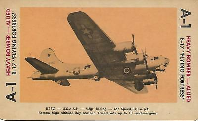 """Milton Bradley 1965 Game Picture Card  WWII B-17 """"Frying Fortress"""" Heavy Bomber"""