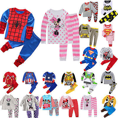 1-8T Cartoon Sleepwear Baby Kids Boys Girls Cotton Nightwear Pj's Pyjamas Suits
