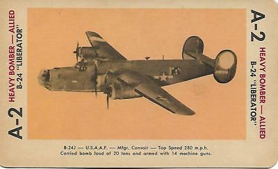 """Milton Bradley 1965 Game Picture Card  WWII B-24 """"Liberator"""" Heavy Bomber Planes"""