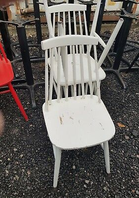 Commercial Wood Spindle Back Restaurant Cafe Bistro Bar Pub Chairs White