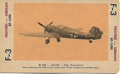 Milton Bradley 1965 Game Picture Card  WWII BF-109E Fighters Plane German
