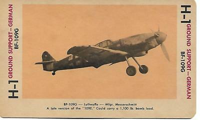 Milton Bradley 1965 Game Picture Card  WWII BF-109G Ground Support Plane German