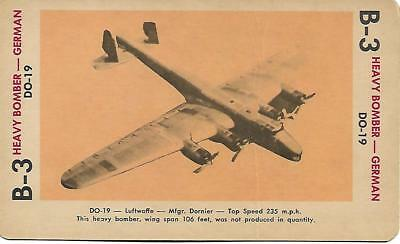 Milton Bradley 1965 Game Picture Card  WWII DO-19 Heavy Bomber Plane German