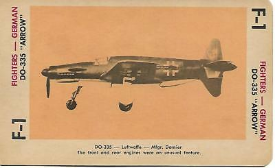 """Milton Bradley 1965 Game Picture Card  WWII DO-335 """"ARROW"""" Fighters Plane German"""