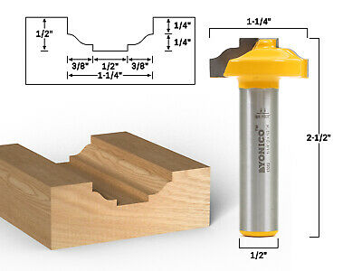 "Ogee CNC Cabinet Door Rail & Stile Router Bit - 1/2"" Shank - Yonico 13083"