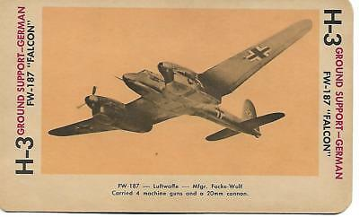 Milton Bradley 1965 Game Picture Card  WWII FW-187  FALCON Ground Support German