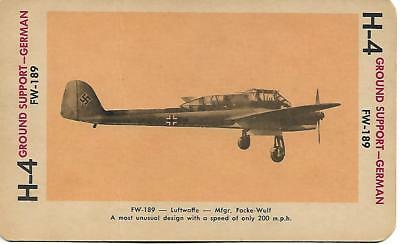 Milton Bradley 1965 Game Picture Card  WWII FW-189  Ground Support Plane German