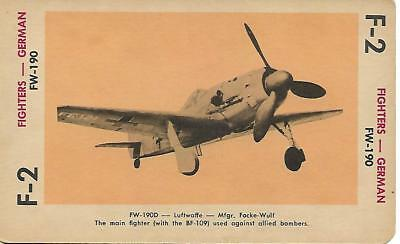 Milton Bradley 1965 Game Picture Card  WWII FW-190 Fighters Plane German