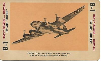 """Milton Bradley 1965 Game Picture Card  WWII FW-200 """" KURIER"""" Heavy Bomber German"""