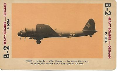 Milton Bradley 1965 Game Picture Card  WWII P-108A Heavy Bomber Plane German