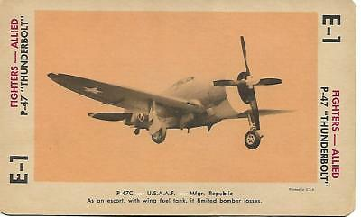 """Milton Bradley 1965 Game Picture Card  WWII P-47 """"Thunderbolt """" Fighters Plane"""