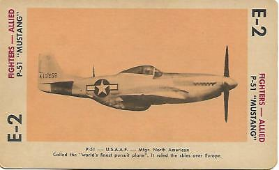 """Milton Bradley 1965 Game Picture Card  WWII P-51 """"Mustang """" Fighters Plane"""