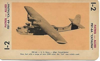 """Milton Bradley 1965 Game Picture Card  WWII PBY-6A"""" Catalina"""" Patrol Plane"""