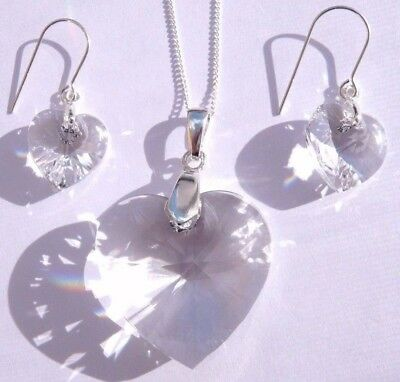 Sterling Silver CLEAR CRYSTAL HEART NECKLACE EARRING SET with SWAROVSKI ELEMENTS