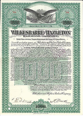 PENNSYLVANIA Wilkes Barre & Hazleton Railroad Co Bond Stock Certificate 1901