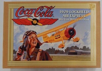 ERTL Coca-Cola 1929 1929 LOCKHEED AIR EXPRESS Die-Cast Metal Coin Bank - NIP