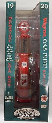 Texaco Gearbox FIRE CHIEF WAYNE 1920 GAS PUMP REPLICA MECHANICAL COIN BANK - NIP