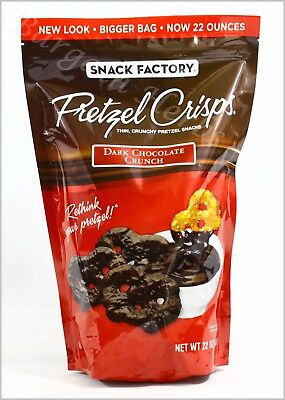 Snack Factory Dark Crunch Pretzel Crisps 22oz Resealable Bag New Free Shipping