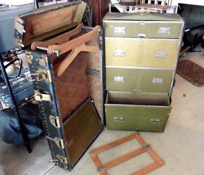 Vintage Wardrobe Steamer  Just A Real Good Trunk Hole Proof Chest Railway @@@