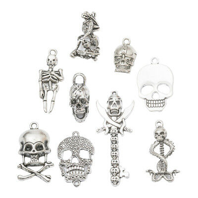 9pcs Skull Skeleton Charms Pendants Jewelry Making Findings Accessories