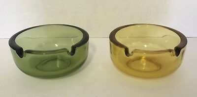 Pair of Vintage 1960s Amber & Green Color Heavy Glass Ashtrays