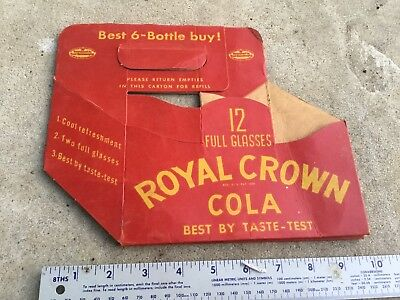 Scarce RC ROYAL CROWN 6 Pack Bottle Carrier Heavy Thick Cardboard