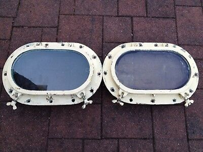 "Pair 17"" Antique Oval Bronze Boat Ship Portholes w/ Screens Nice Portlights"
