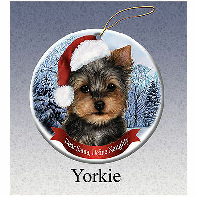 Yorkshire Terrier Yorkie Howliday Porcelain China Dog Christmas Ornament