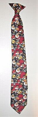 Classic Angry Birds Clip On Boys Neck Tie Black Background ~15 inches