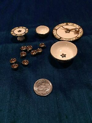 Dollhouse Miniatures Artist Signed Bowls And Cups J. Yingling