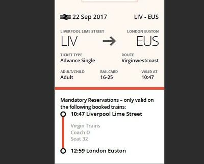 Virgin Ticket Liverpool Lime Street to London Euston 22nd Sep 10:47am-12:59pm