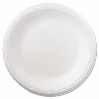 "Genpak Foam Dinnerware, Plate, 8 7/8"" Dia, White, 125/pack, 4 Packs/carton  8090"