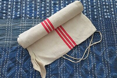 Antique European Hemp Grain Sack Beautiful Cranberry Red Stripes 2 Available