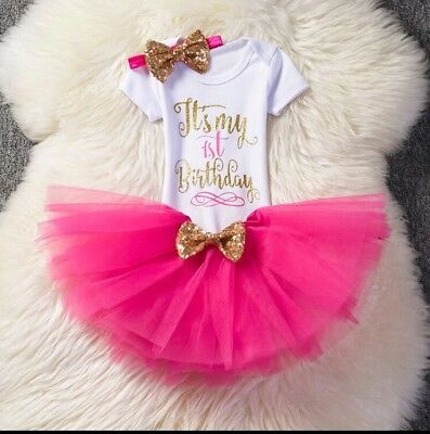 Baby Girls 1st First Birthday 3 Piece Outfit Cake Smash Set Tutu Top Party Pink