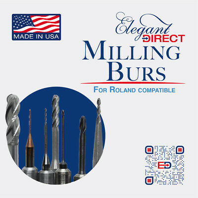 CAD CAM Roland Milling Burs 5 sizes avail for Zirconia & PMMA milling